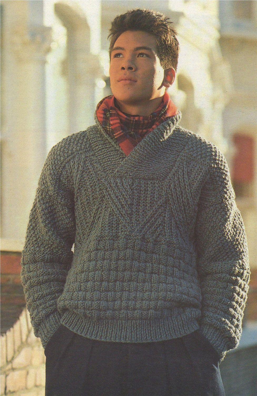 Mens Sweater Knitting Pattern PDF with Shawl Collar, Mans ...