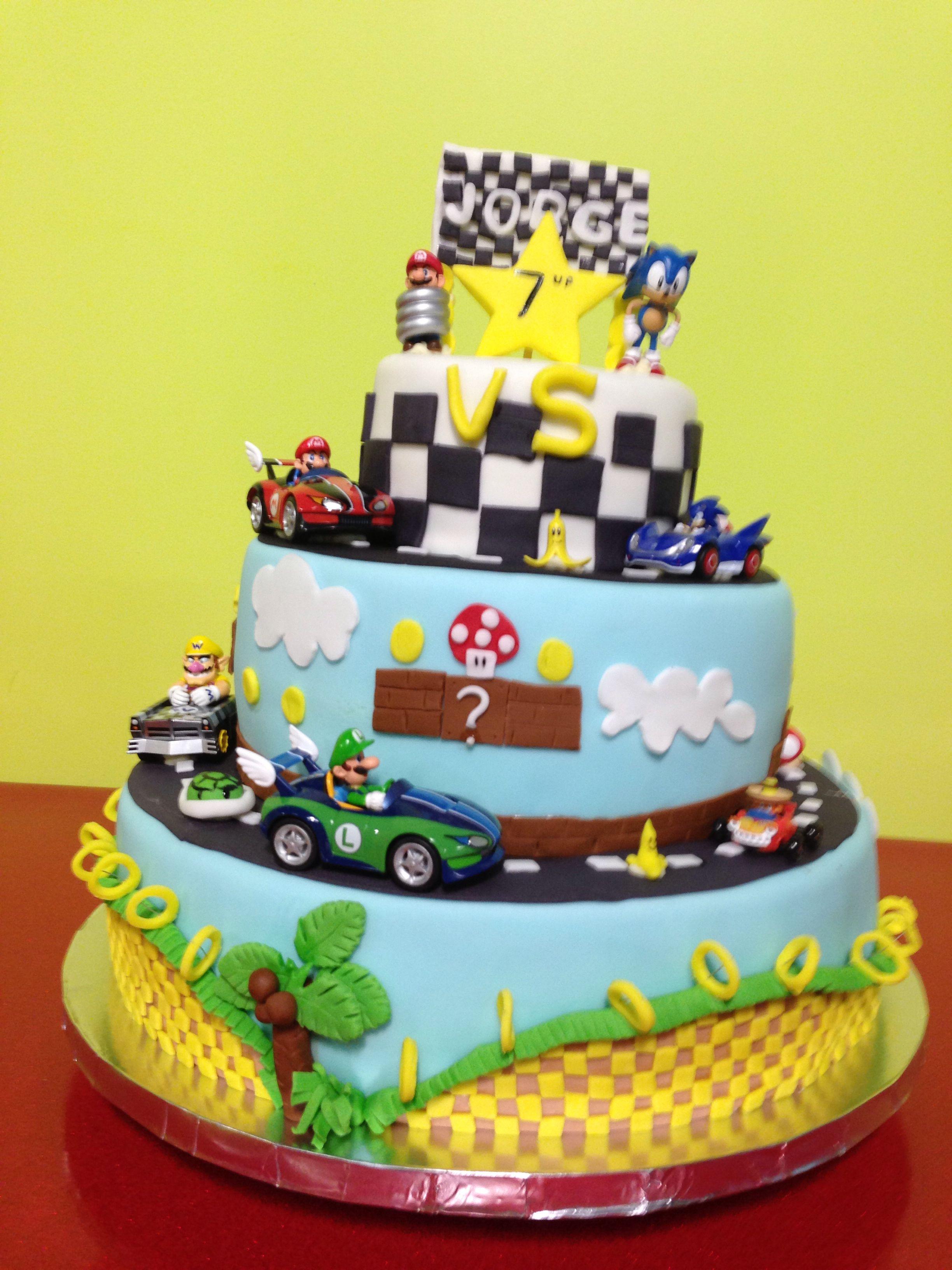 Mario Vs Sonic Birthday Cake Birthdays Pinterest Sonic