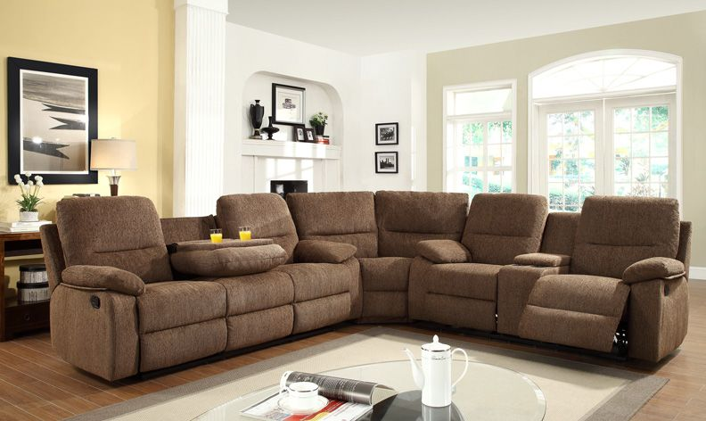 Cloth Sectionals With Recliners 3pc Transitional Modern