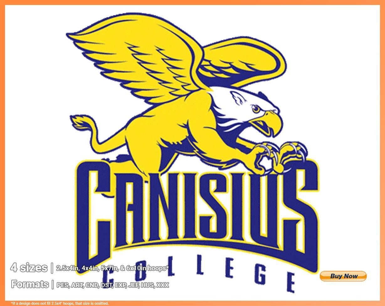 Canisius Golden Griffins College Sports Embroidery Logo In 4 Sizes Spln000675 Sports Logos Embroidery Vector For Nfl Nba Nhl Mlb Milb And More In 2020 Embroidery Logo Sports Logo College Sports
