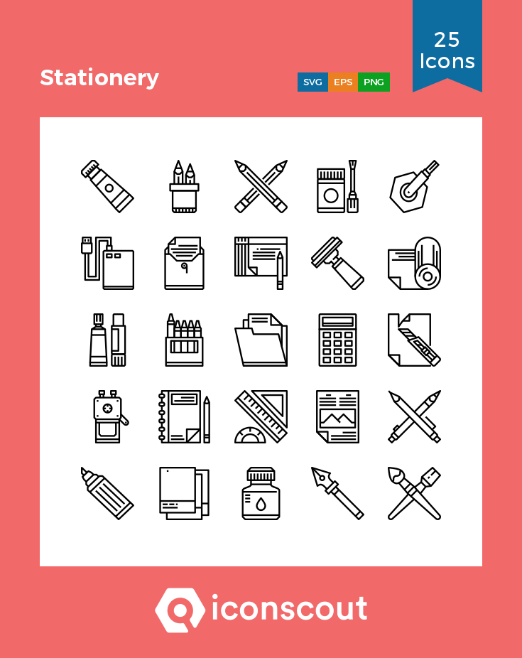 Download Download Stationery Icon pack - Available in SVG, PNG, EPS ...