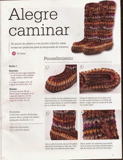 Patrón #535: Botas a Crochet ~ CTejidas [Crochet y Dos Agujas ...