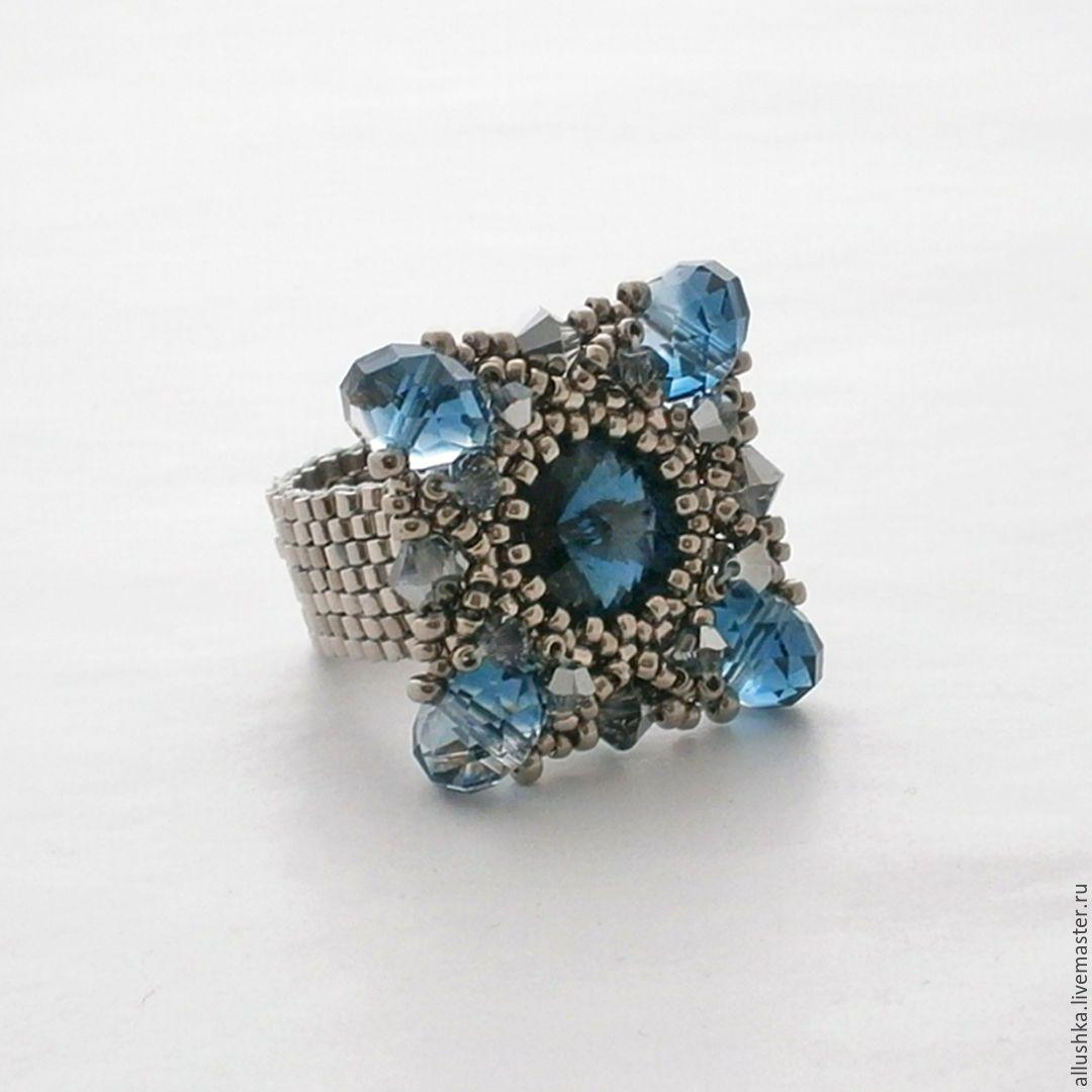 Купить Кольцо из бисера и кристаллов - синий, кольцо, кольцо ручной работы, кольцо из бисера, подарок