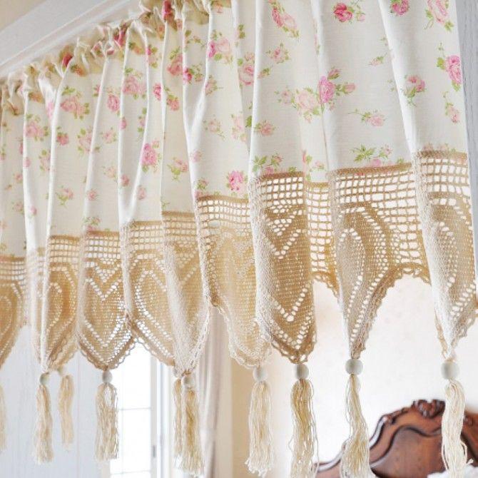 Vintage Rose Crochet Heart Tassel Valance Shabby Chic Dresser