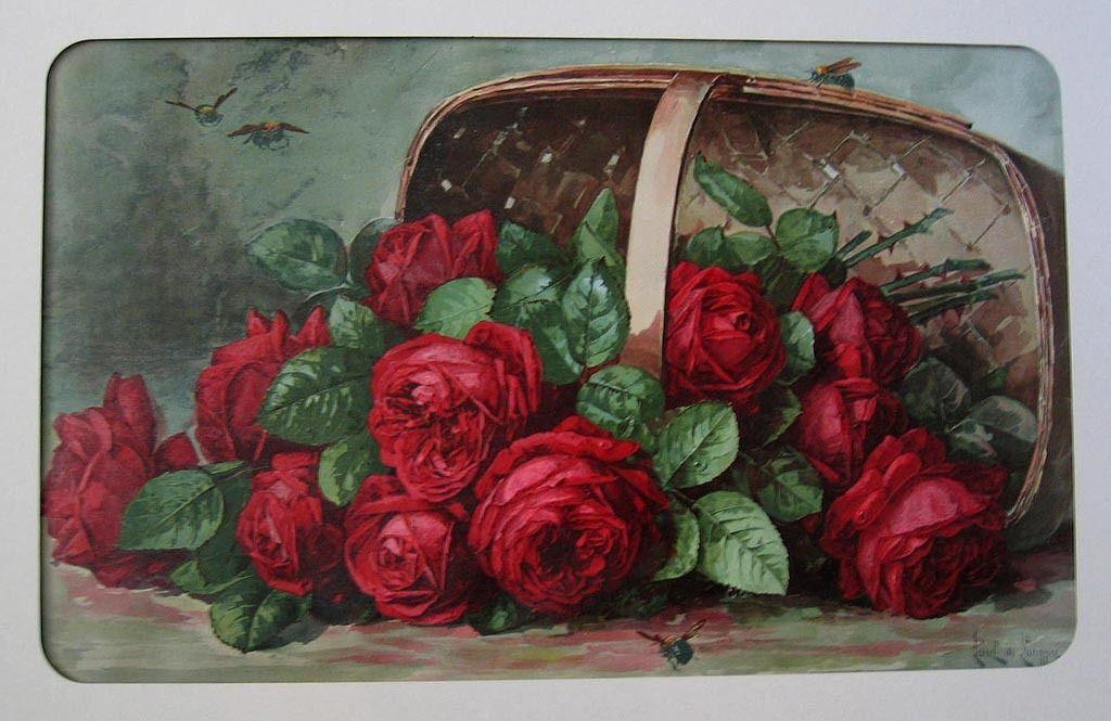 c1899 Paul de Longpre Basket of Beauties Roses Chromolithograph Print Arbuckle Coffee Antique Victorian