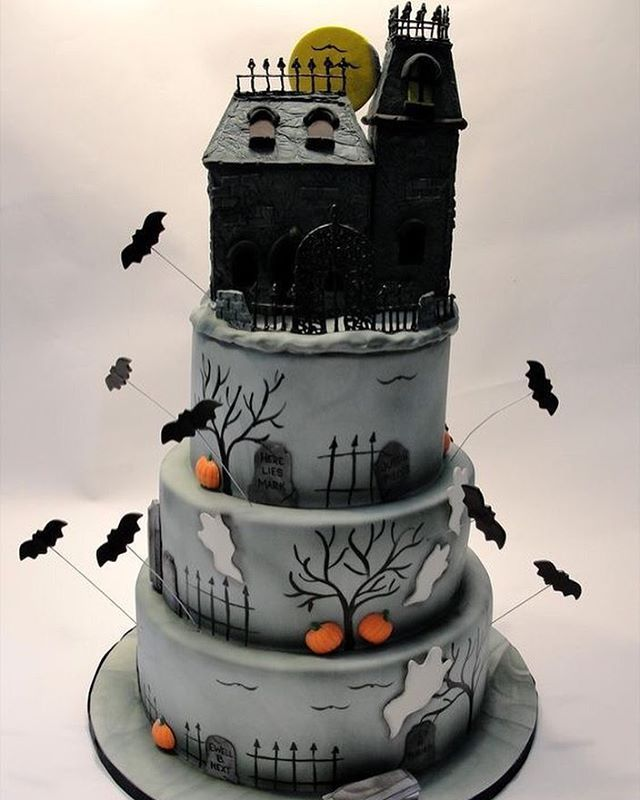 Excellent Haunted House Cake Ghastlygastronomy Scary Cakes Haunted Personalised Birthday Cards Epsylily Jamesorg
