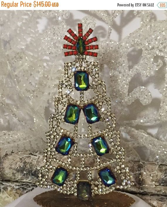 ON SALE Signed Czech Rhinestone Tree Exceptional by MeAndMoma - christmas decorations sale