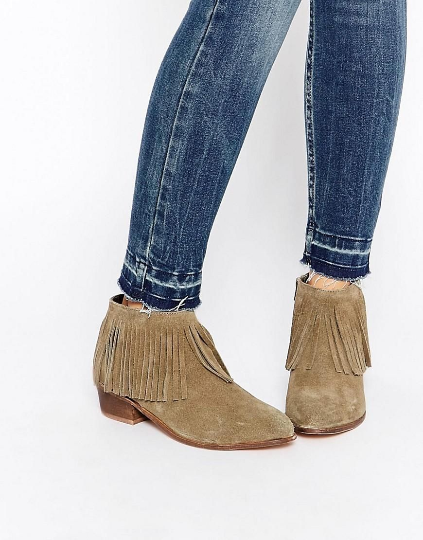Buy Women Shoes / Asos Aroots Suede Western Fringe Ankle Boots