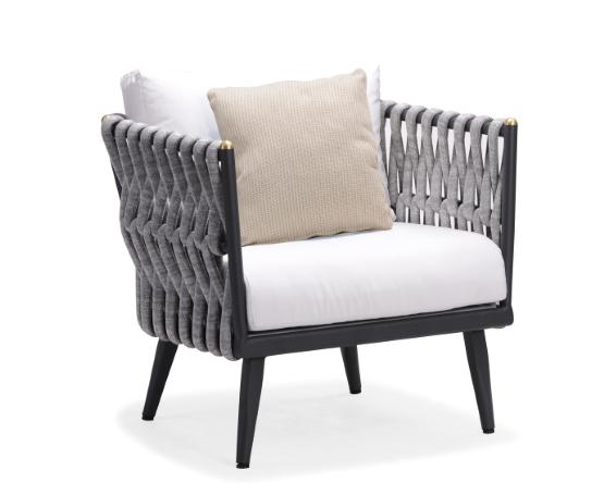 INDOSOUL Crown Single Deep Seat Sofa Matte Black Aluminum
