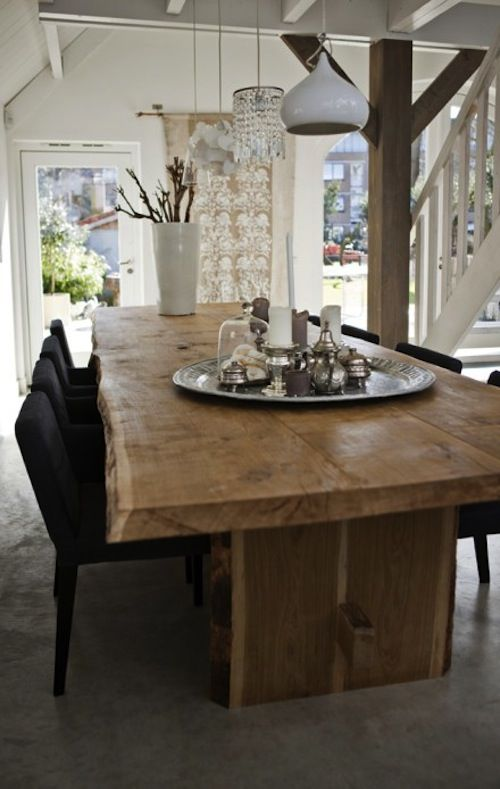 Unique Eclectic Dining Room With Natural Wood Table Smooth Wood