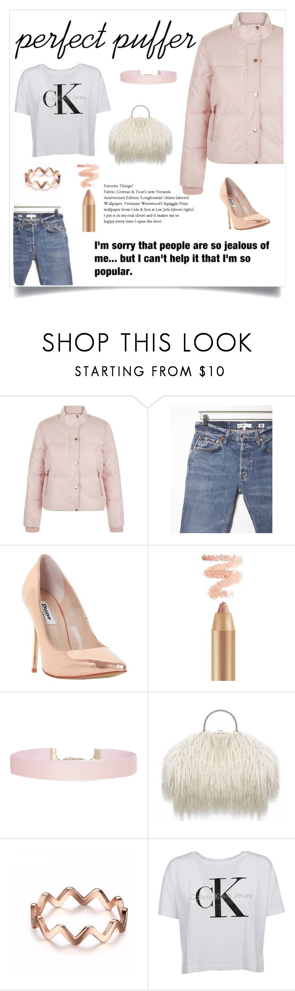 """""""Perfect Puffer Jacket!"""" by sarahemm ❤ liked on Polyvore featuring New Look, RE/DONE, Dune, Humble Chic and Calvin Klein"""