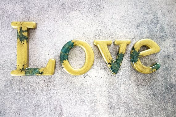 Love Word Sign Home Decor Sign In Metallic By Wordosaurustext