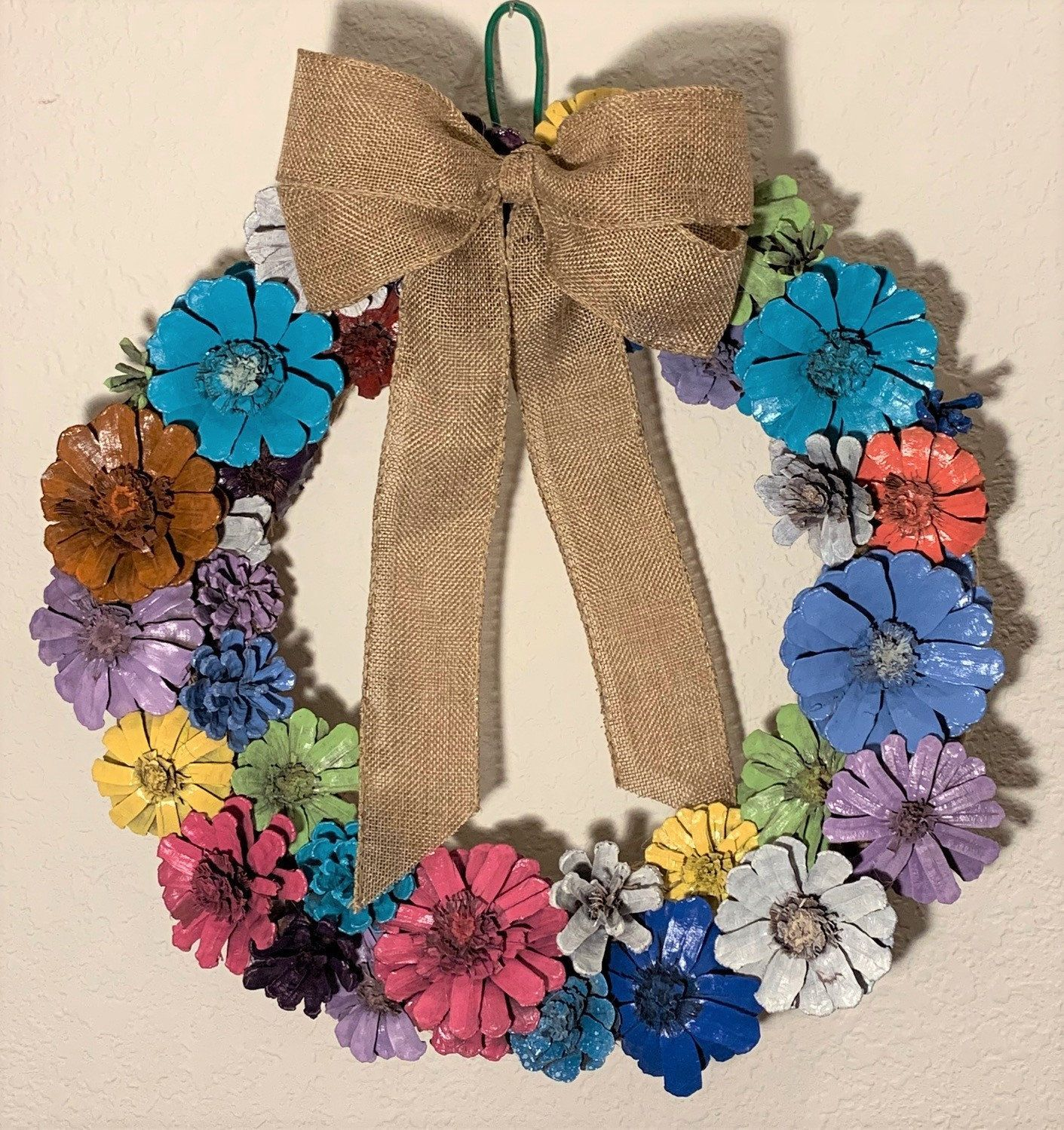 Pine Cone Flower Wreath/Door Hanger; Multiple Colors of Pine Cone Flowers with Huge Bow #pineconeflowers Pine Cone Flower Wreath/Door Hanger; Multiple Colors of Pine Cone Flowers with Huge Bow by LaciLouDesigns on Etsy #pineconeflowers