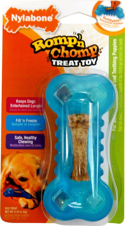 Nylabone Romp N Chomp Freezer Bone With Treat For Dogs Under 15
