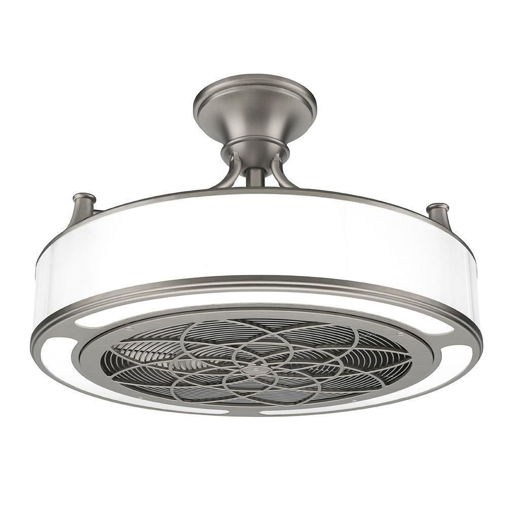 Brushed Nickel Ceiling Fan 22in Led Light Home Modern