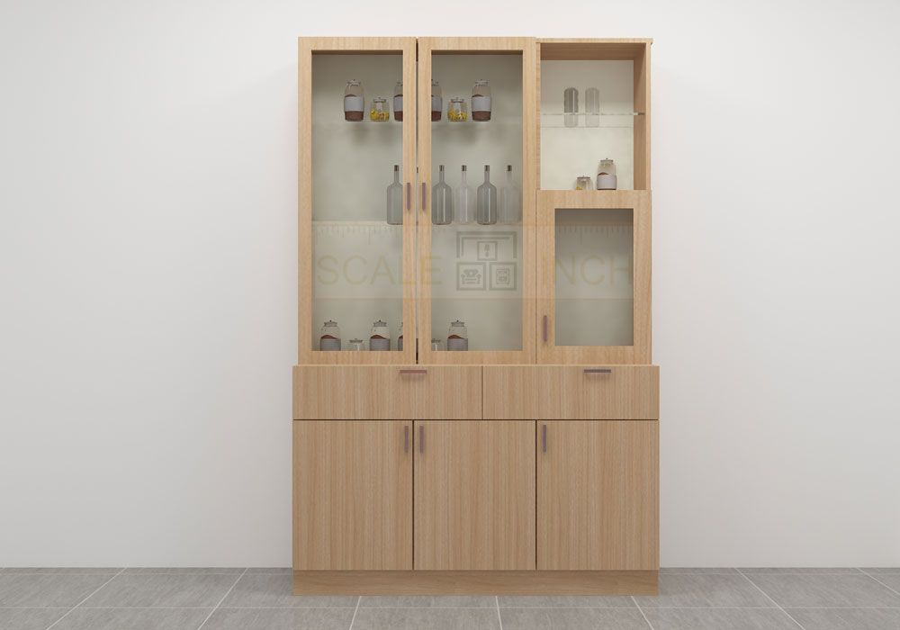 Sleek Structured Crockery Unit Made Up Of Plywood With