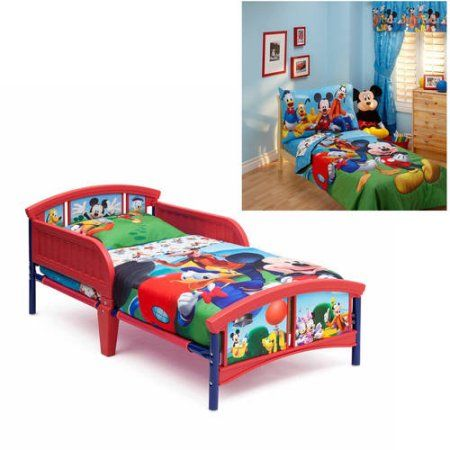 Disney Mickey Mouse Toddler Bed And Bedding Value Bundle Walmart Com Mickey Mouse Toddler Bed Toddler Bed Disney Mickey Mouse