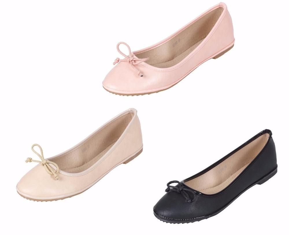 UK Women/'s Ballerina Ballet Dolly Pumps Ladies Work Flats Loafers Shoes Sizes3-8