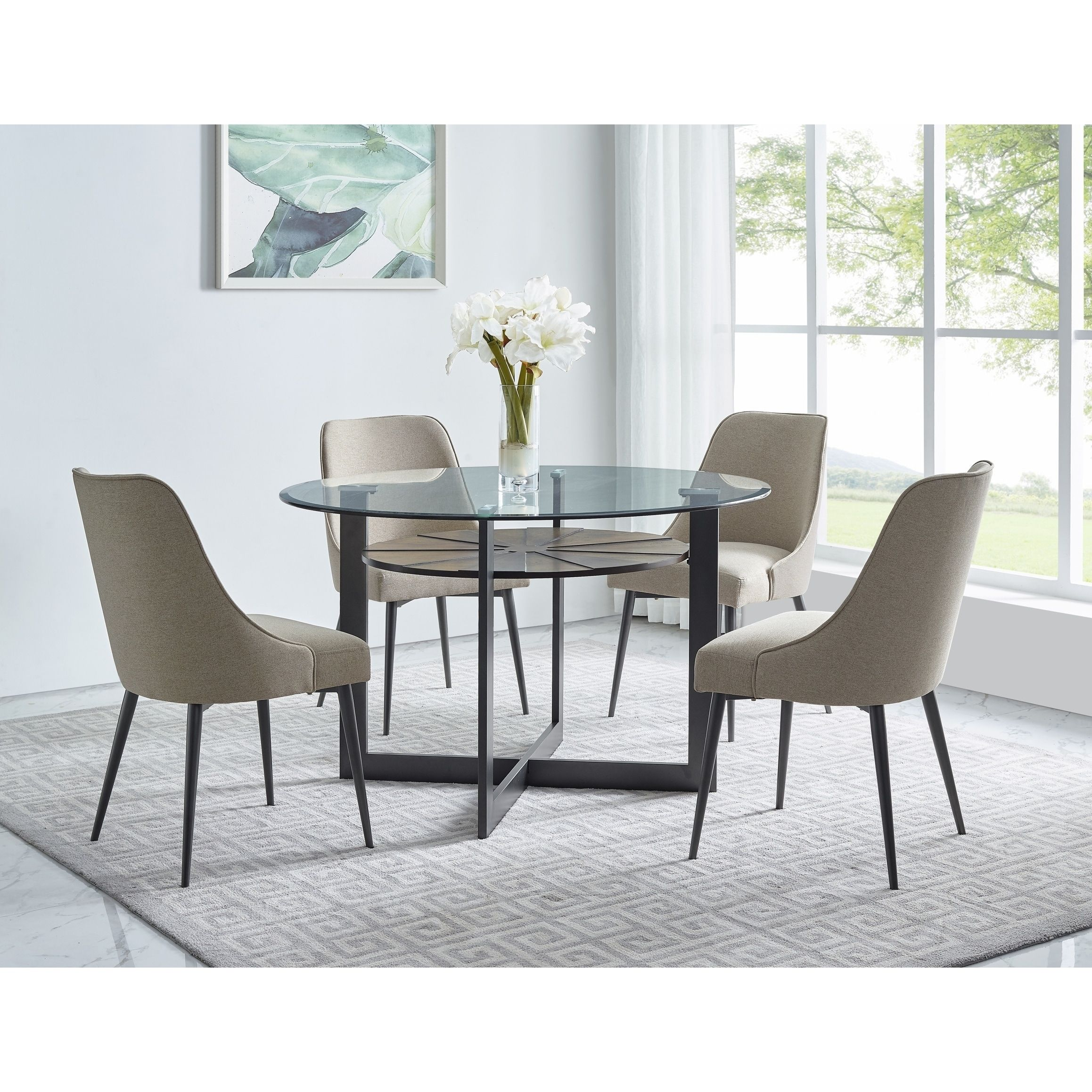Orrick 48 Inch Round Glass Top Dining Set By Greyson Living Beige Dining Room Sets Dining Set Glass Top Dining