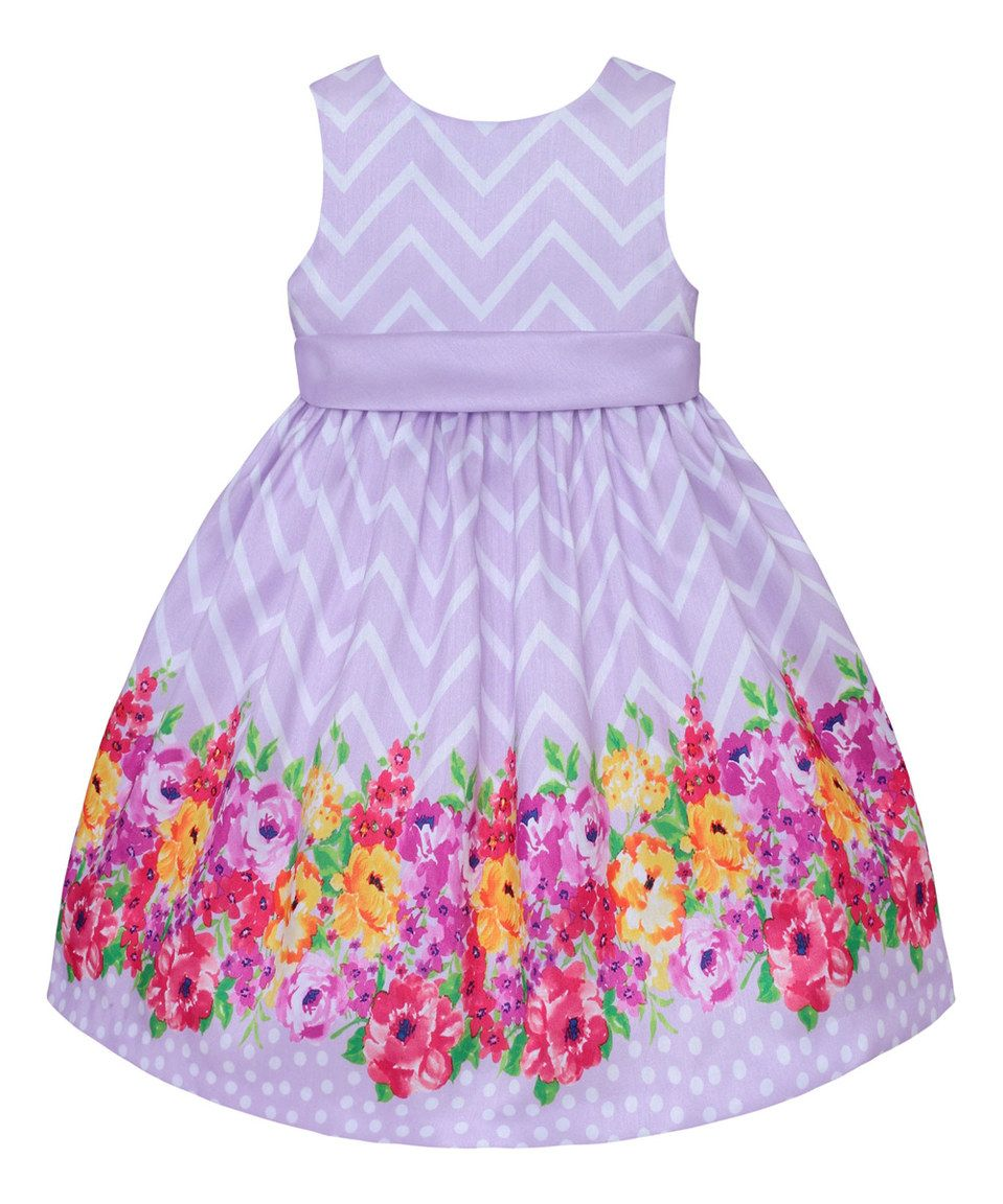 This Lilac Chevron & Floral Dress - Toddler & Girls by American Princess is perfect! #zulilyfinds