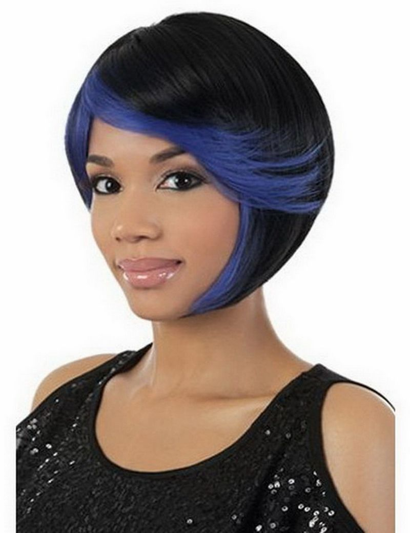 Black women with highlighted hair - Fashion Sexy Straight Short Cheap Bob Wigs For Black Women Heat Resistant Synthetic Blue Highlights On