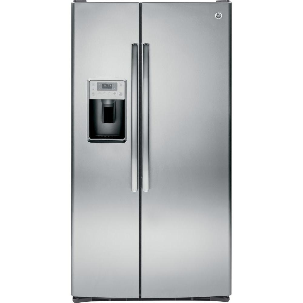 Ge Profile 28 4 Cu Ft Side By Side Refrirator In Stainless Steel Silver Side By Side Refrigerator Stainless Steel Refrigerator Refrigerator