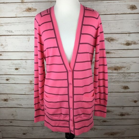 """[J. Crew] Merino Stripe Pink Boyfriend Cardigan This cardigan you can (and will) wear with everything. A slouchy drape and ultra soft merino wool give this better-than-basic sweater luxe appeal while keeping it classic with stripes. Long sleeves. Rib trim at neck, cuffs, and hem. Patch pockets. Hits below hip.  Color: Pink Fabric: 100% Merino Wool Size: Medium Bust: 19"""" Length: 30"""" Condition: GUC. Worn a handful of times. Recently dry cleaned. Slight fuzzy texture due to nature of merino…"""