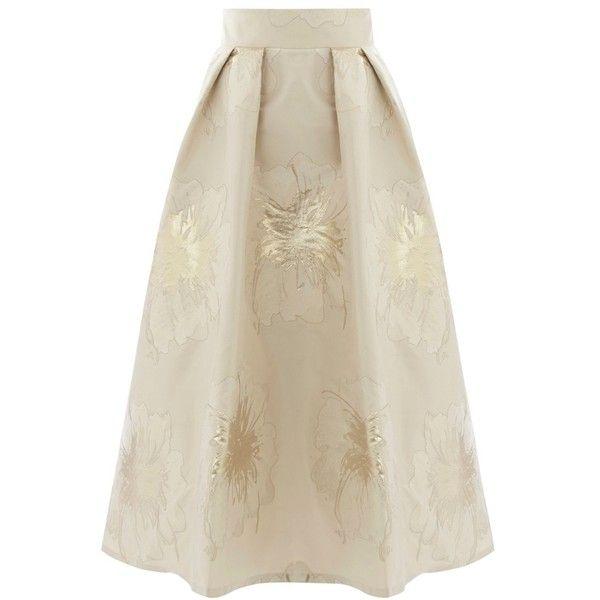 Coast Foiled Jacquard Lyra Skirt, Gold (£71) ❤ liked on Polyvore featuring skirts, bottoms, metallic pleated skirts, brown midi skirt, knee length pleated skirt, metallic gold skirt and midi flare skirt