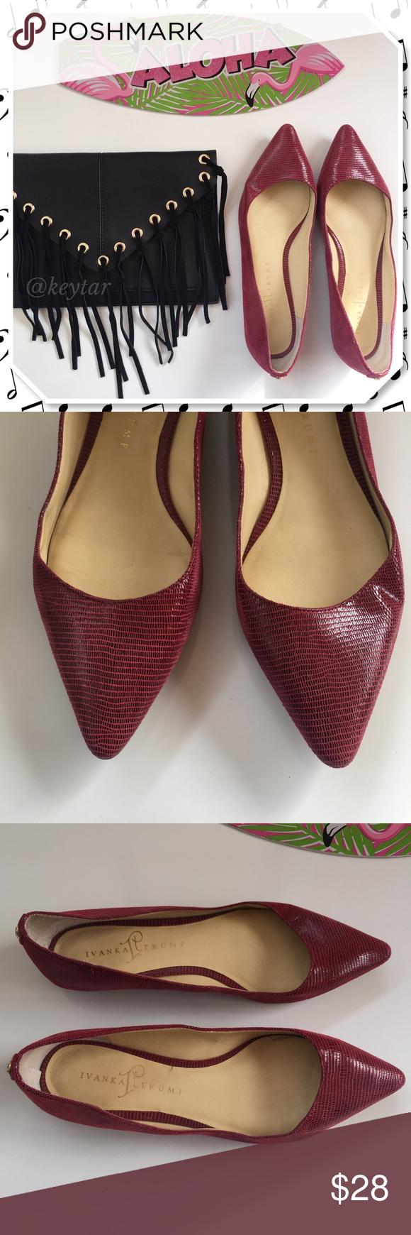 6ecce3943e3b Ivanka Trump Annulio Red Leather Snakeskin Flats A sleek and simple flat  from Ivanka Trump.