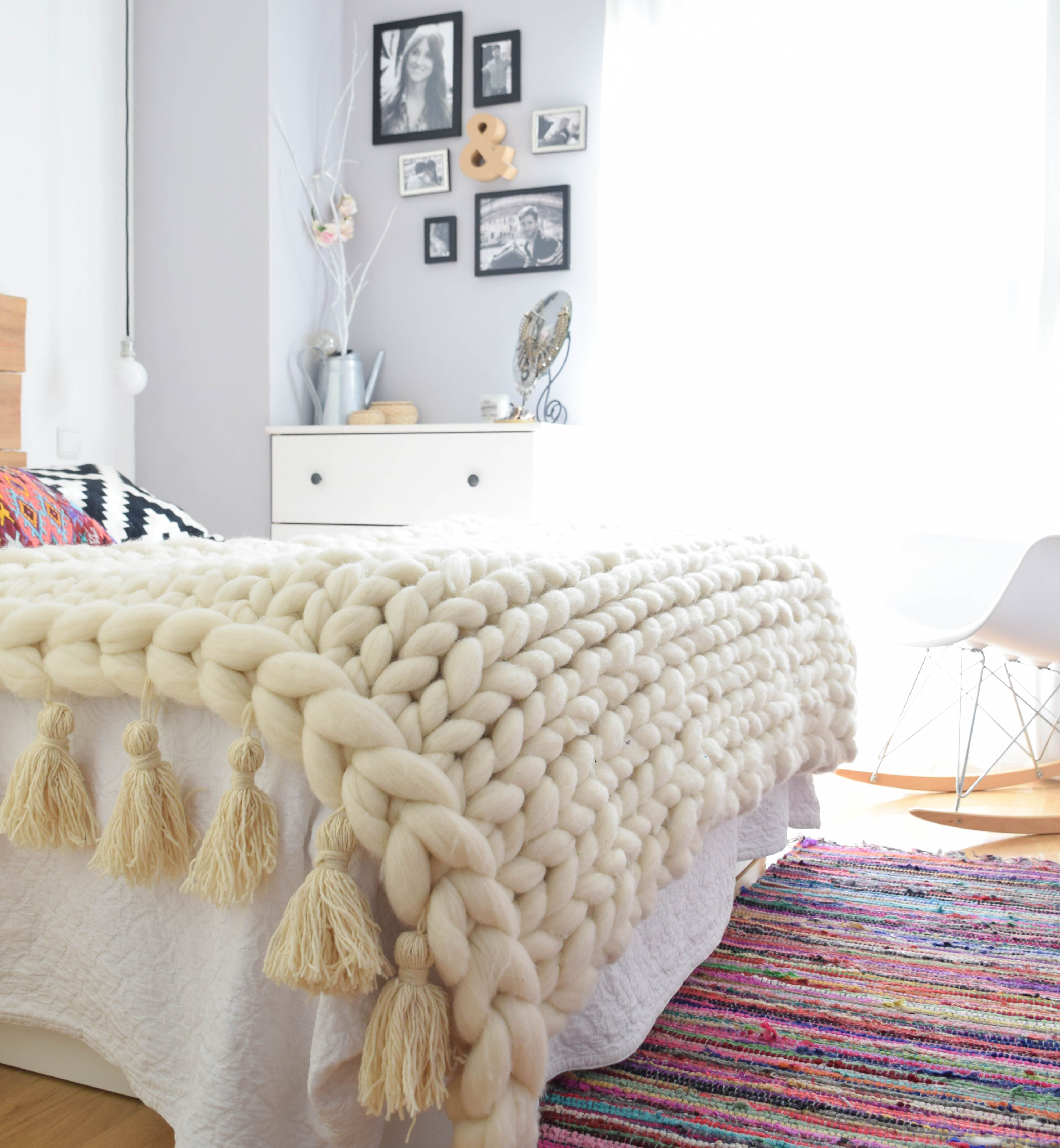 manta punto grueso manta xl chunky blanket lana merino