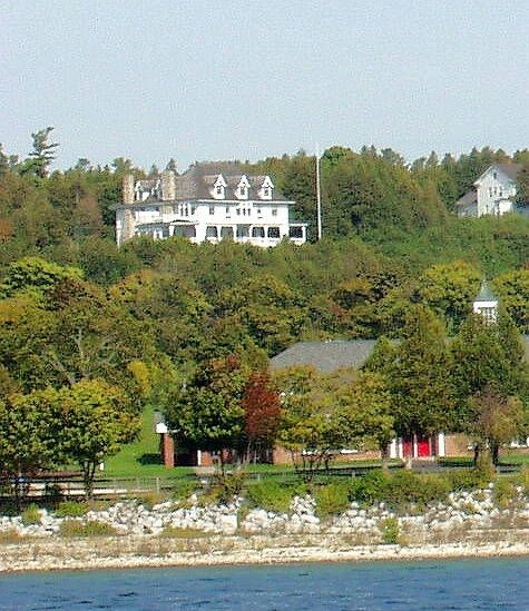 Picture of Michigan Governor's Summer Residence on Mackinac Island.  When the governor visits the Michigan flag is flown.