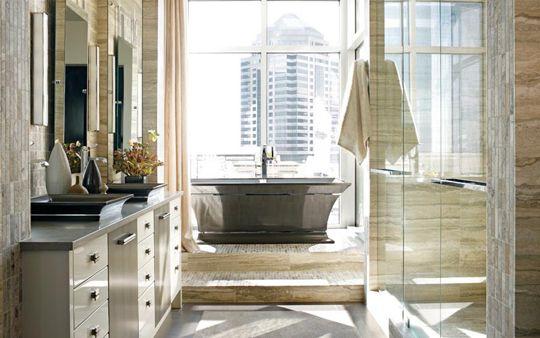 Glam Bathroom By Matthew Quinn: MTI Intarcia Tub And Sinks. Stone