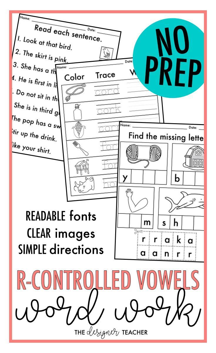 Workbooks ur worksheets : NO PREP Phonics Worksheets R-Controlled Vowels Word Work {AR, OR ...