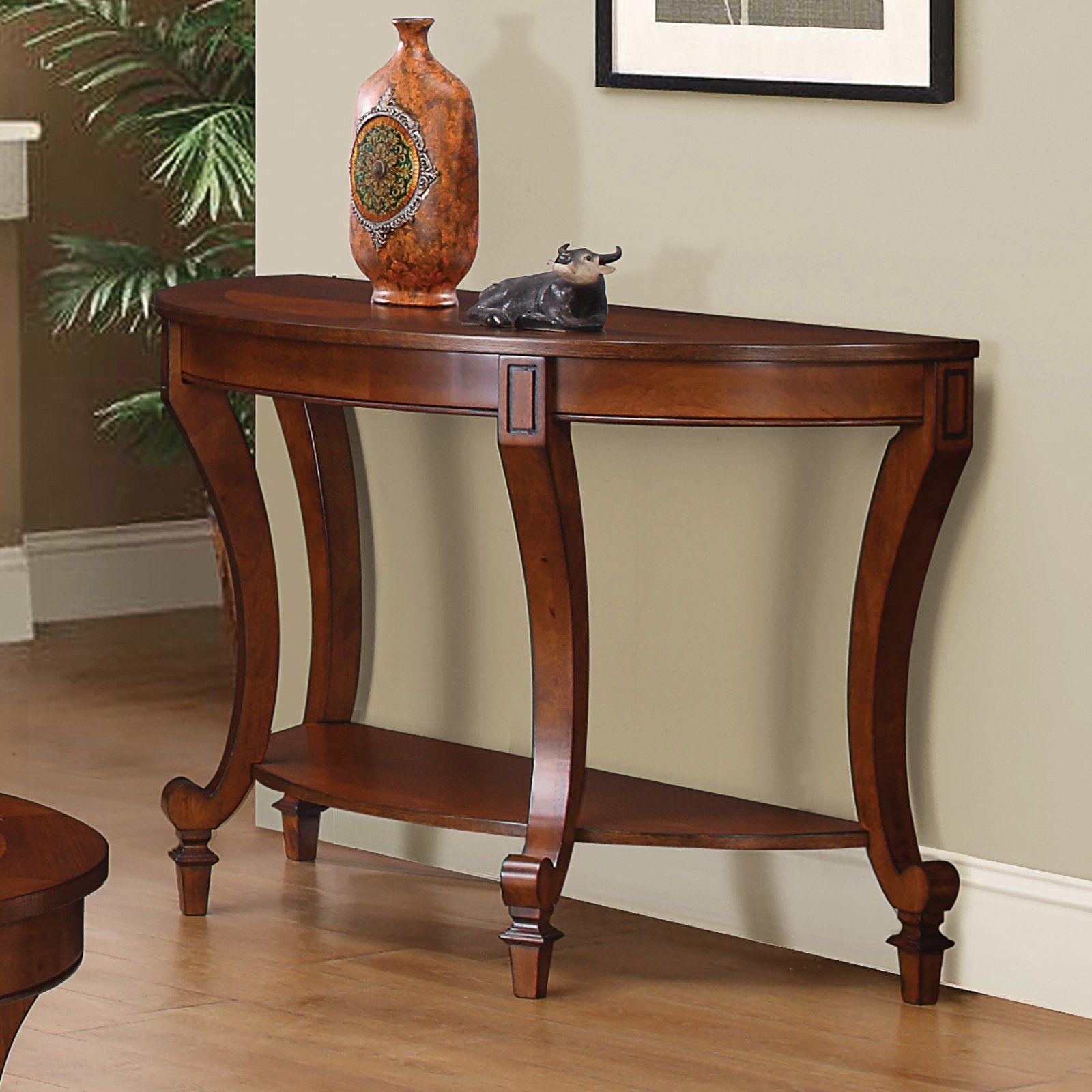 Coaster Furniture Crescent Sofa Table Warm Brown Furniture