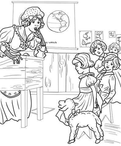 mary 39 s little lamb in a school coloring page from mother goose nursery rhymes category select. Black Bedroom Furniture Sets. Home Design Ideas