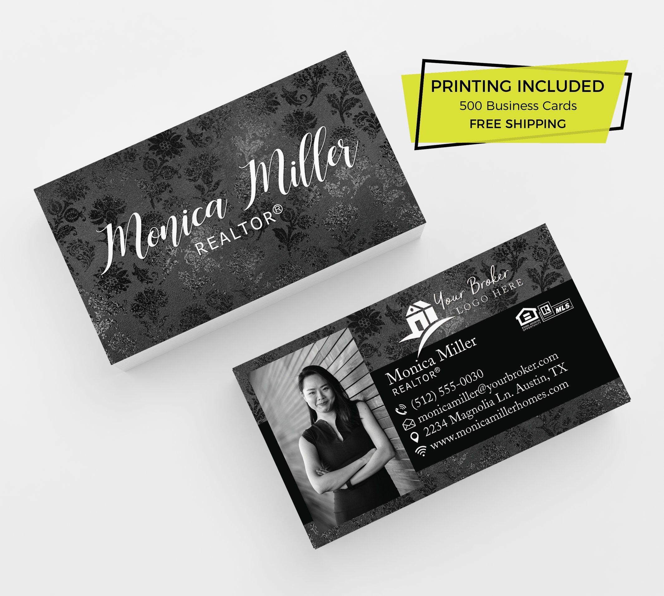 Black Floral Realtor Business Card 500 Printed Business Cards Etsy Realtor Business Cards Unique Business Cards Real Estate Agent Business Cards