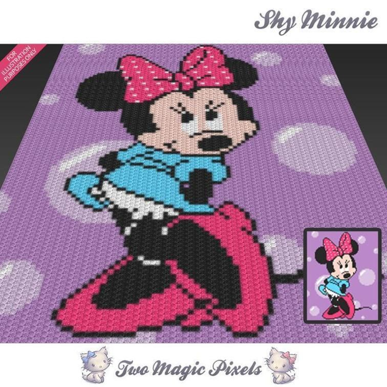 Shy Minnie C2C Crochet Graph