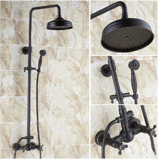 New Luxury Oil Rubbed Bronze Shower Faucet Set 8 Rain Shower Head