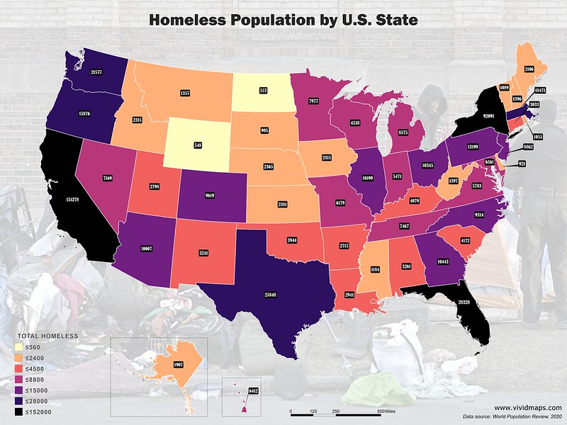 The U S Homeless Population Mapped Vivid Maps Homeless Funny Orange United States Map