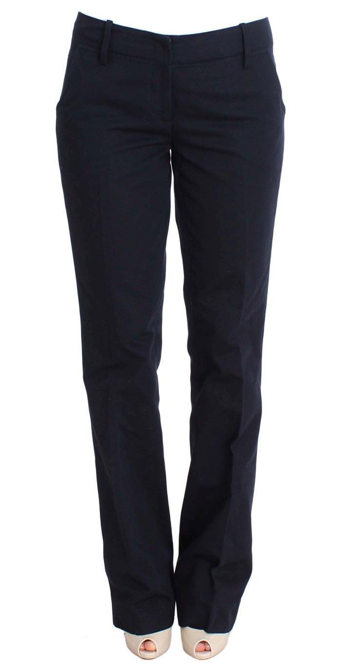 Blue Cotton Silk Dress Formal Pants