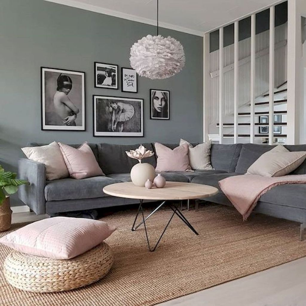 33 Beautiful Grey Living Room Ideas Decorations 47 Staircase In Living Room Pink Living Room Apartment Living Room