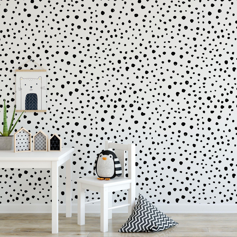 Black Dalmatian Dots Self Adhesive Wallpaper Removal Alternative Wallpaper For The Nursery Home In 2020 Self Adhesive Wallpaper Nursery Wallpaper Adhesive Wallpaper