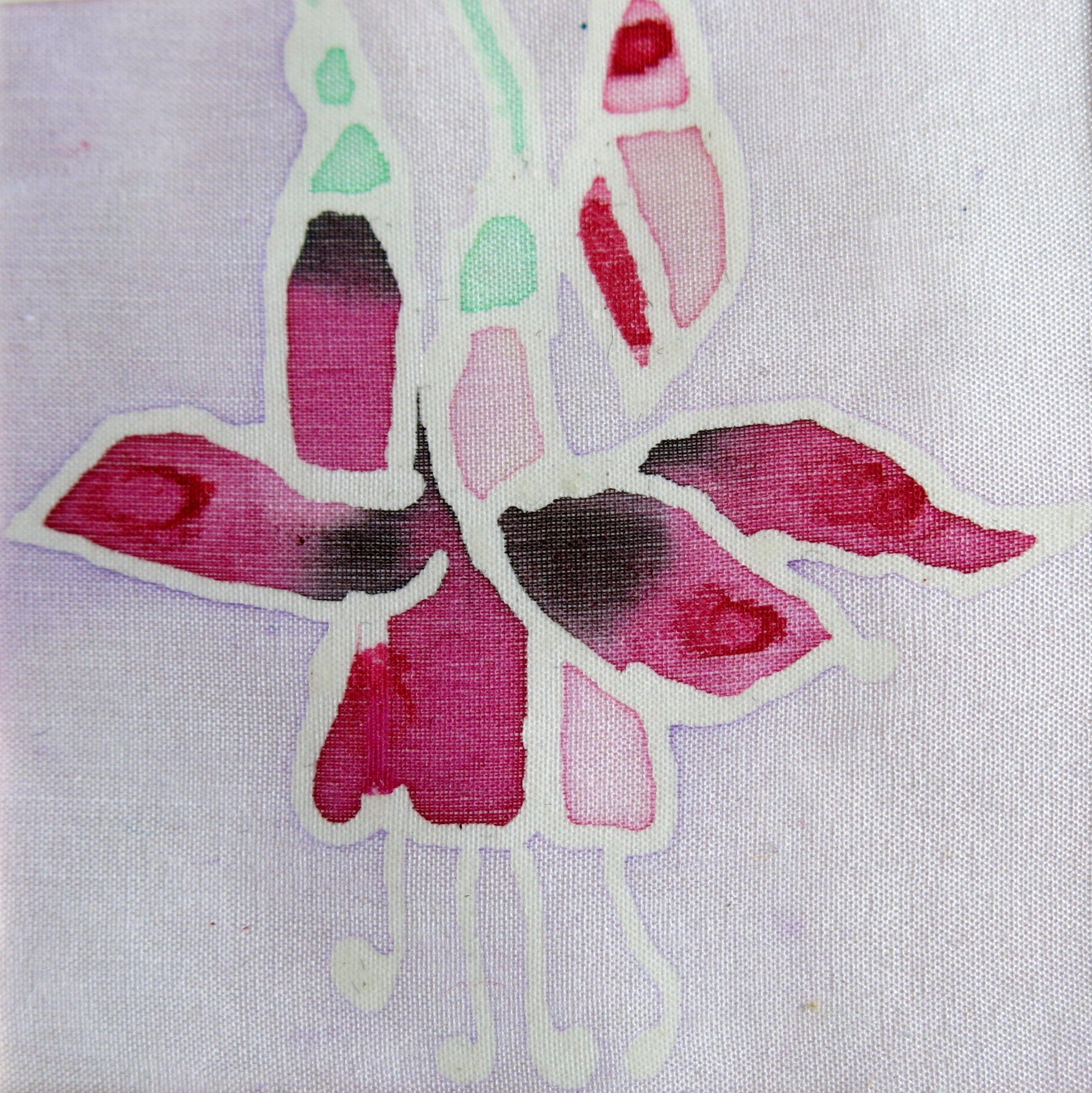 Floral Card Hand Painted Card Fuchsia Card Silk Painted Card