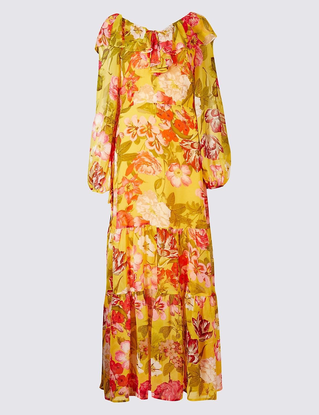 Floral print ruffle long sleeve maxi dress love pinterest long