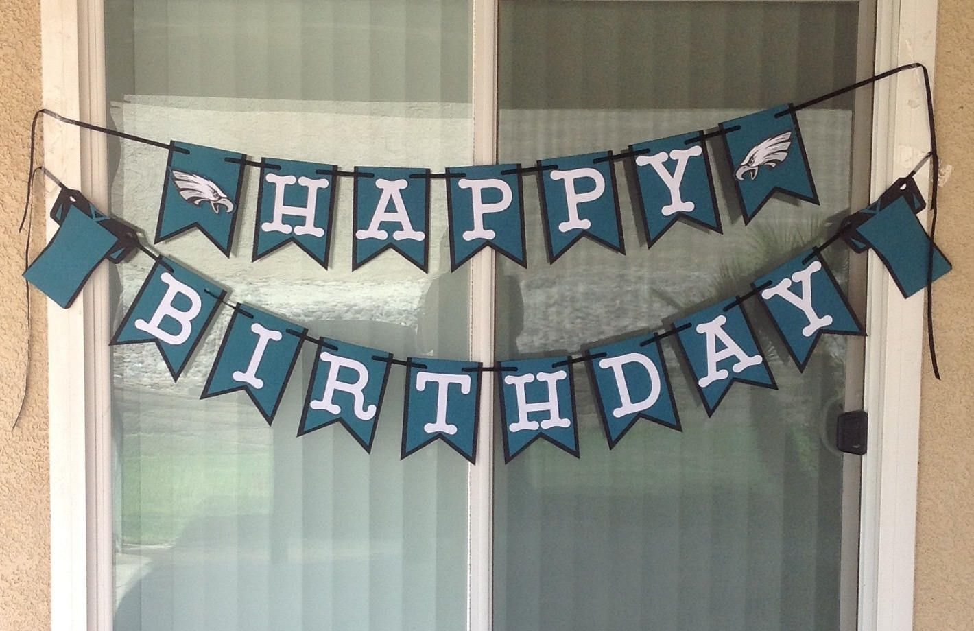 Philadelphia Eagles Birthday Banner inspired Anniversary Baby Shower Party  Decorations Matching Topper   Confetti Teal Black Handmade New by  SportsNutz on ... 3d3da9f91