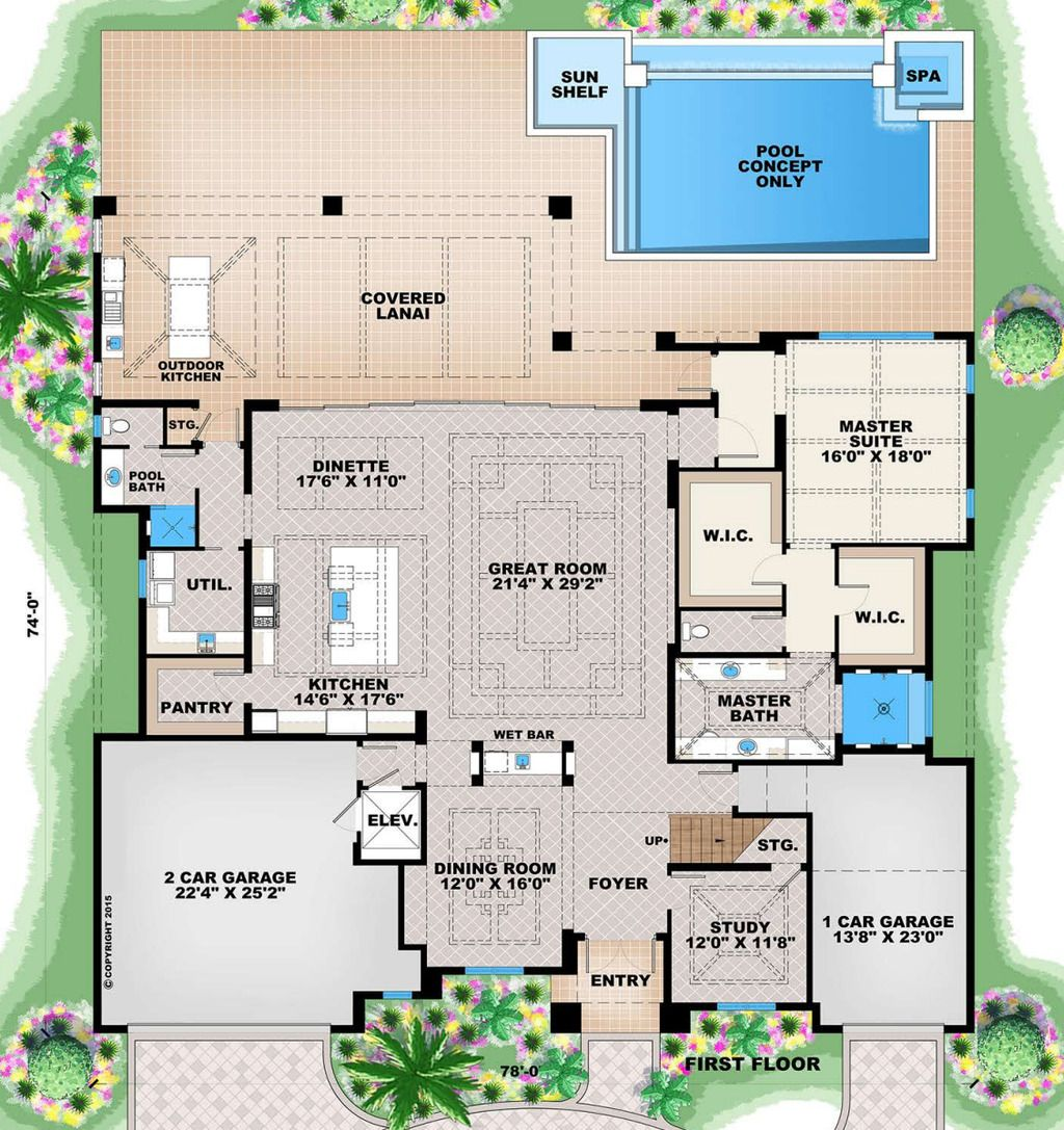 Contemporary Style House Plan 3 Beds 3 Baths 2684 Sq Ft Plan 27 551 How To Plan House Plans Floor Plan Design