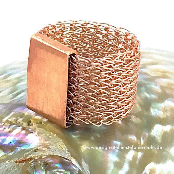 fingergestrickter RING aus Roségold-farbenem Kupferdraht mit | wire ...
