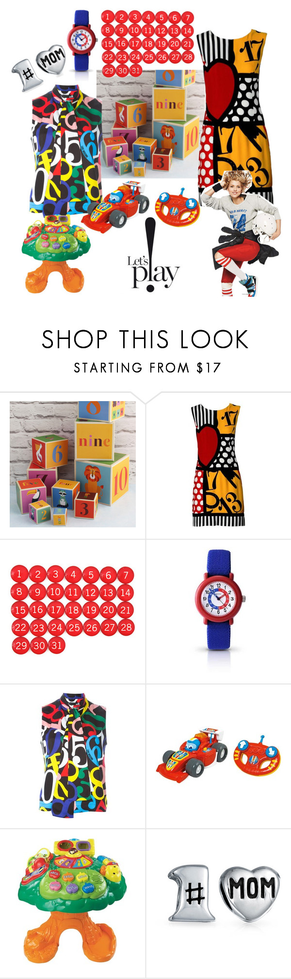 """Let's Play with Numbers!"" by alexxa-b ❤ liked on Polyvore featuring Posh Totty Designs, Moschino, Sekonda, Love Moschino, VTech, Bling Jewelry, mom, games, Mum and numbers"