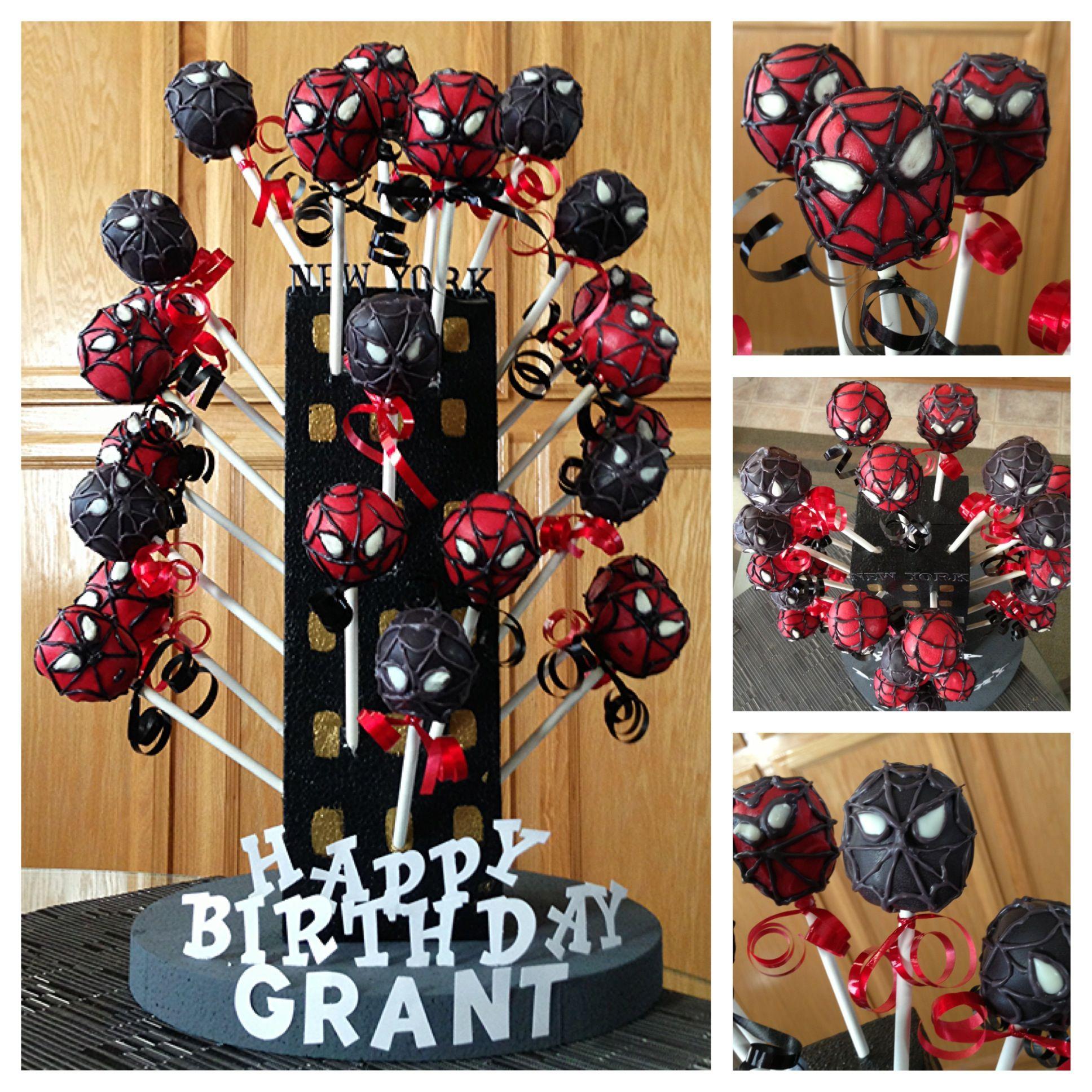 Spider Man And Venom Cake Pops