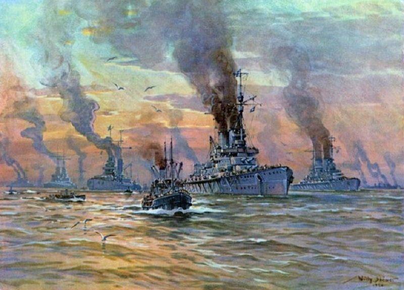 Willy Stöwer - Flotte in verschärfter Bereitschaft auf der Jade